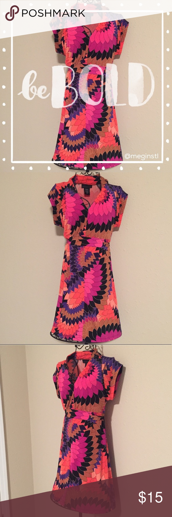 attention bold print dress with attached belt