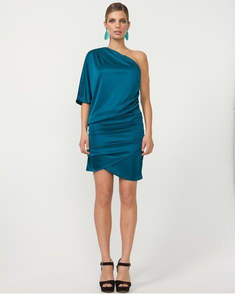 Ruched One Shoulder Mini Dress in Dark Teal