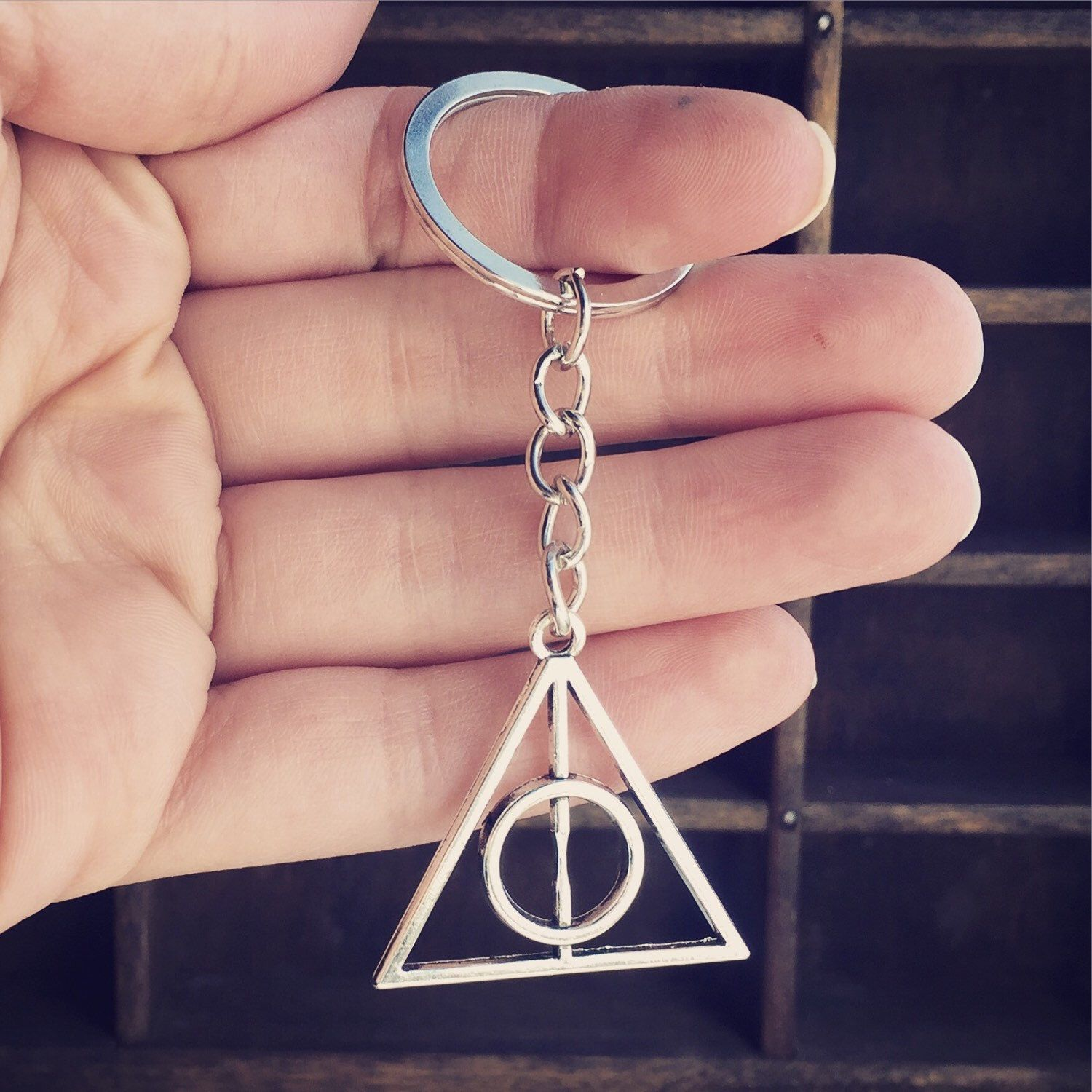 Keychain harry potter and the deathly hallows symbol book movie keychain harry potter and the deathly hallows symbol book movie lover gift party favor biocorpaavc Images