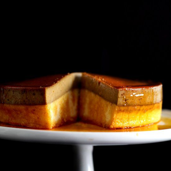 The wonder of two self-separating layer of caramel espresso flan, and butter-roux sponge cake.  Pure magic.