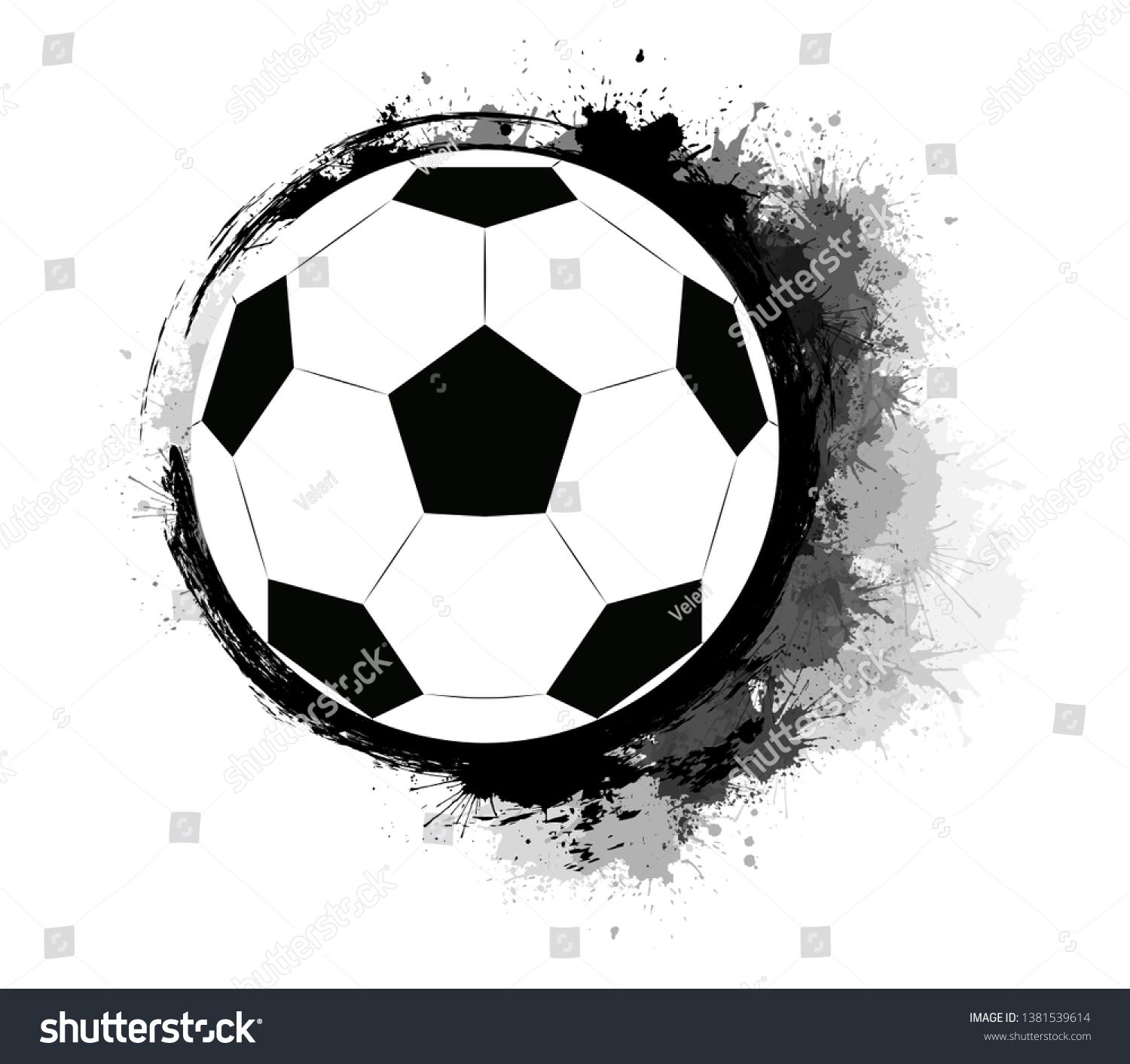 Soccer Ball With Grunge Scuffs Ink Stains And Watercolor Splashes The Object Is Separate From The Background Vector Ink Stain Soccer Ball Watercolor Splash