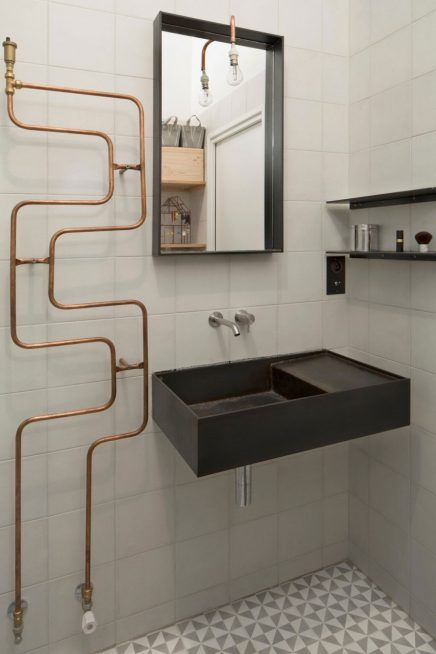 Kleine industriële badkamer in loft - Sanitair, Industrieel en ...