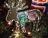 Norwegian Rosemaled Moose Ornament