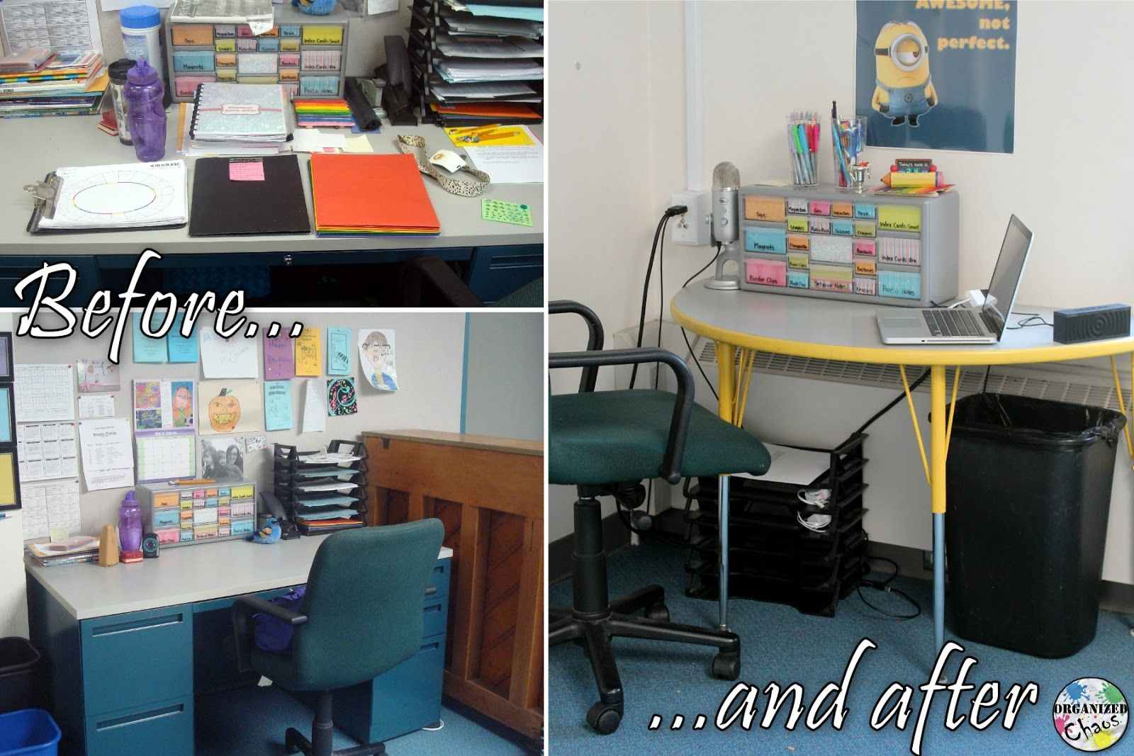 Organizing Without A Teacher Desk The Colorful Apple Teacher Desk Organization Teacher Desk Teacher Organization