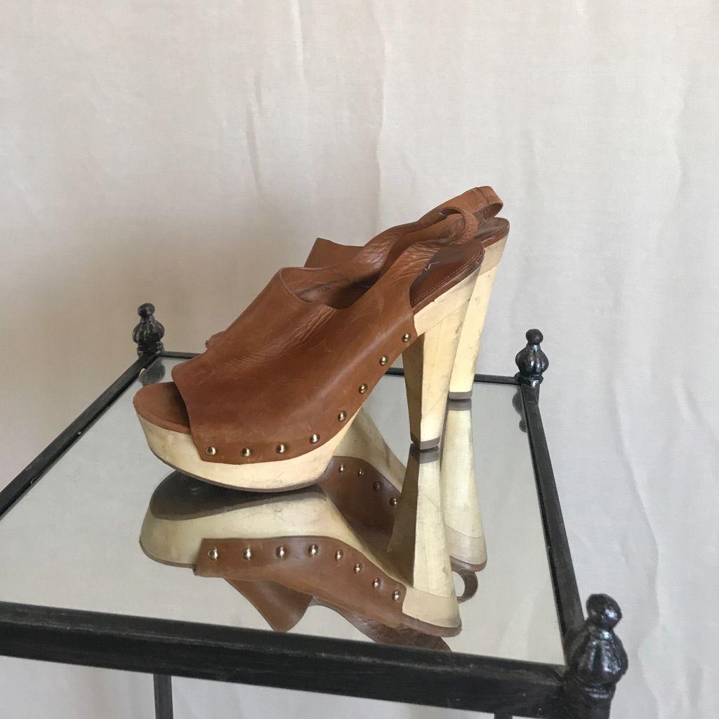 Via Spiga Leather Sling Back Wedges Size 7.5