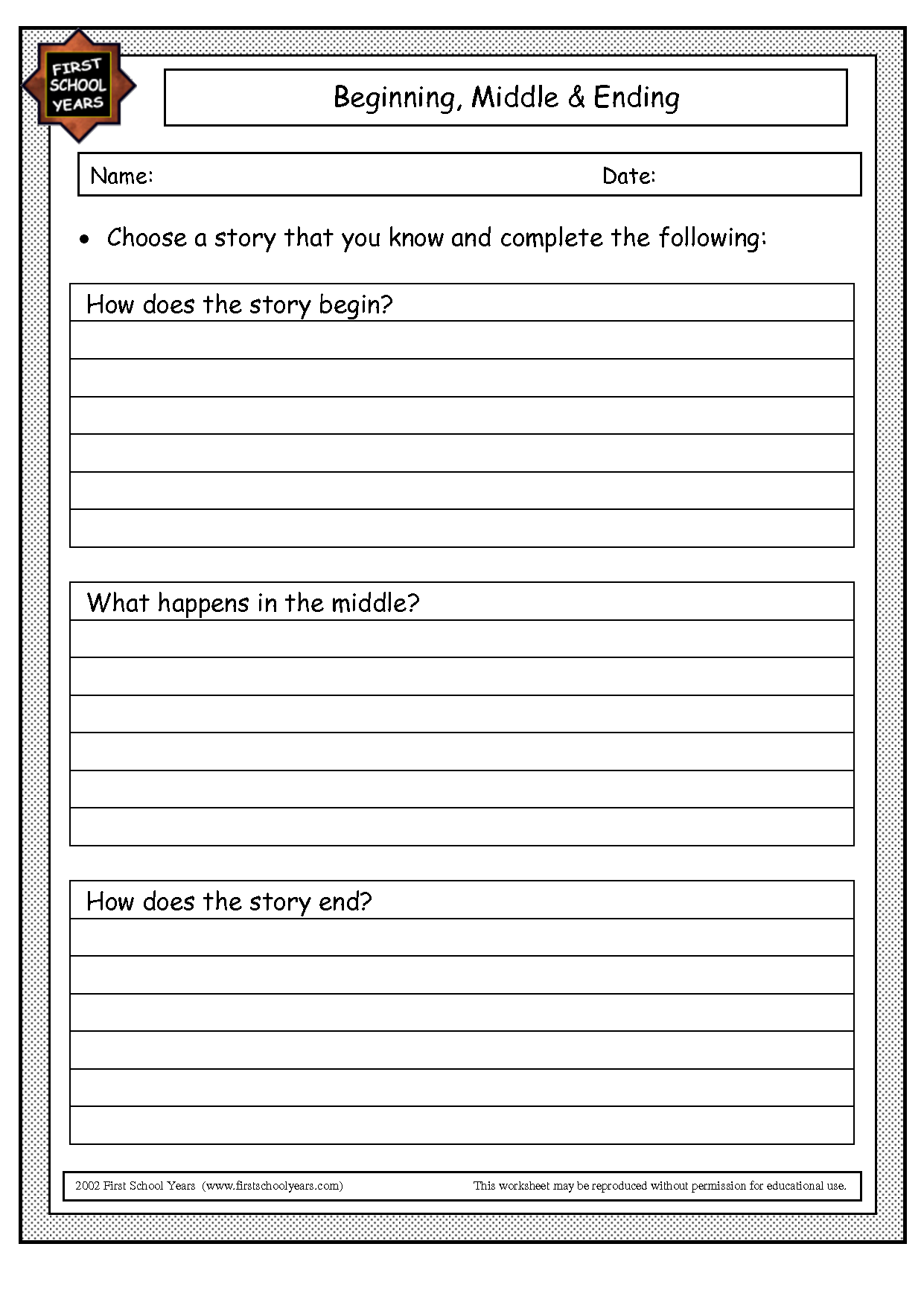 Beginning Middle And End Worksheet