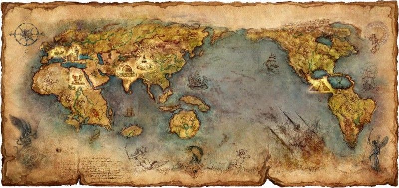 Mythical continent map ancient nautical world map home wall decor mythical continent map ancient nautical world map home wall decor art poster print map decoration gumiabroncs Images