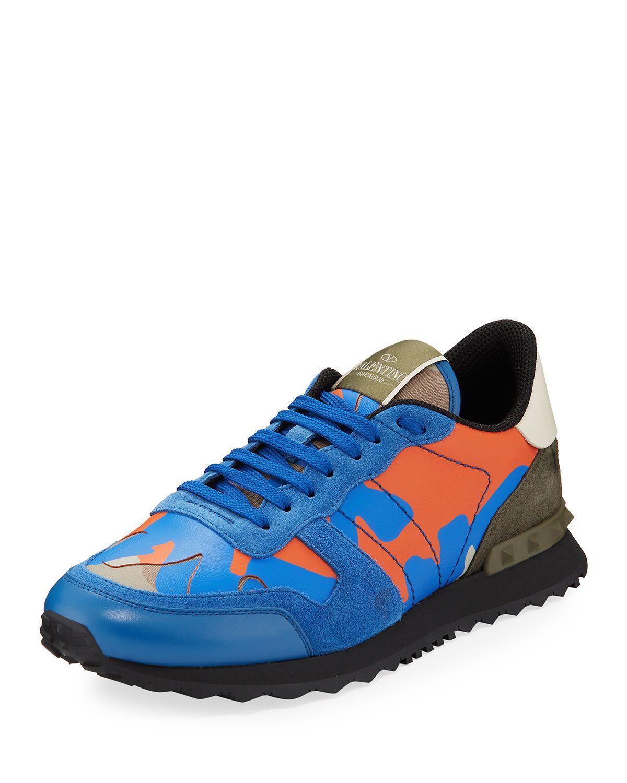 ca38ff63b VALENTINO Men's Rockrunner Camo Leather Sneakers, ORANGE PATTERN. #valentino  #shoes