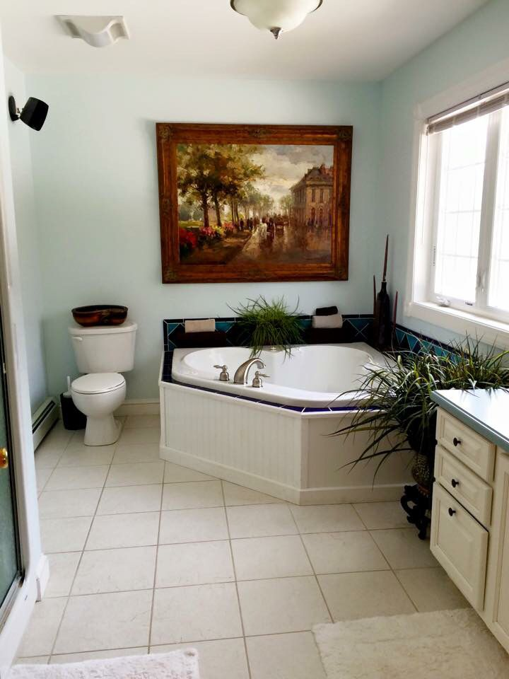 Master Bathroom In Patriotic White By Benjamin Moore Bathroom Paint Colors Benjamin Moore Bathroom Paint Colors Painting Bathroom
