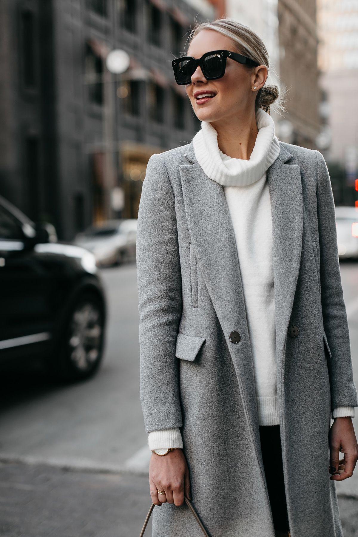 Blonde Woman Wearing Grey Wool Coat White Turtleneck Sweater Fashion Jackson Dallas Blogger Fashion Blogger Stree Fashion Fashion Jackson Casual Winter Outfits [ 1800 x 1200 Pixel ]