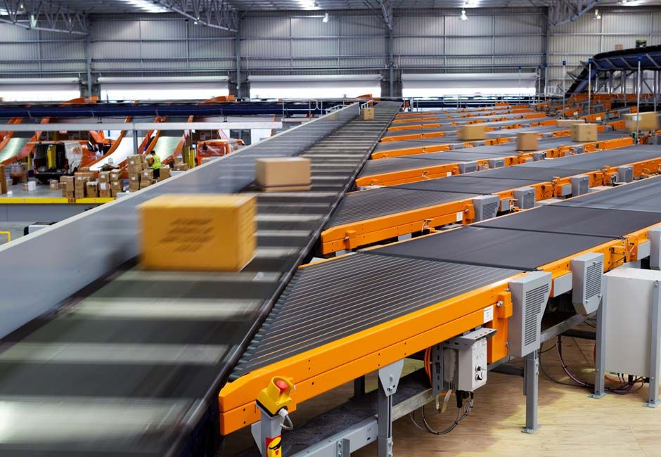 Parcel processing hub in action Parcel, Conveyors, Conveyor