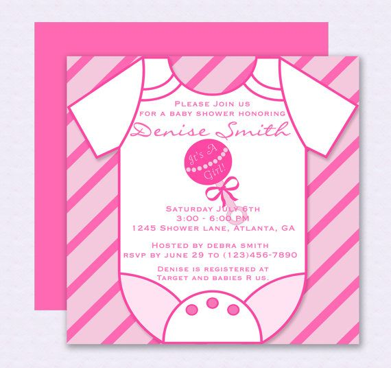 Pink Onesie Baby Shower Invitation - Editable Template - Microsoft - how to make a baby shower invitation on microsoft word
