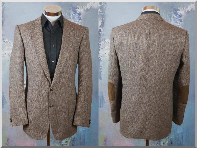 Brown Herringbone Tweed Blazer 1990s European Vintage Single Breasted Wool Jacket Large 40 To 42 Us Uk Tweed Blazer Herringbone Tweed Wool Jacket