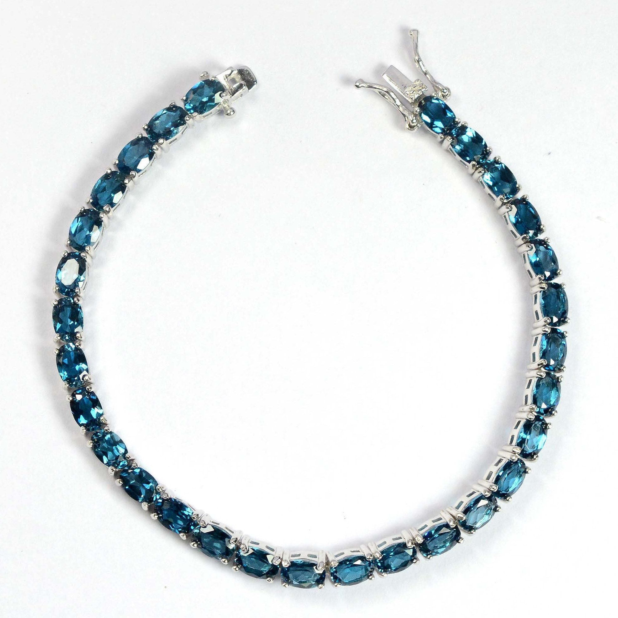 Wedding Gift for her Tennis Bracelet Natural London Topaz Silver Jewelry Handmade Silver Bracelet Natural Blue Topaz Silver Bracelet