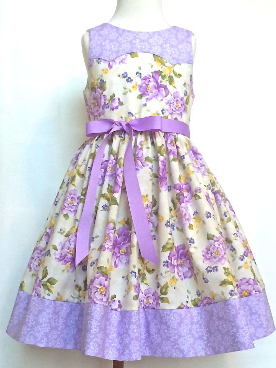 327ac2bda Girls Easter Dress Toddlers Easter Dress Lilac and Cream Floral ...