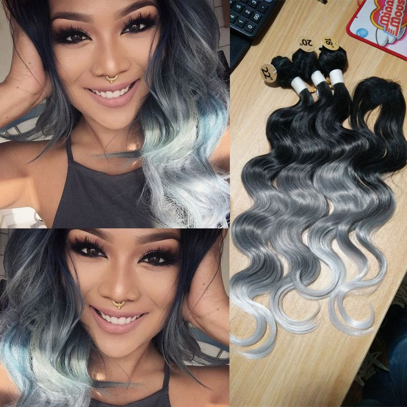 Synthetic Hair Weave With Closure 3 Tone Ombre Grey Body Wave Hair