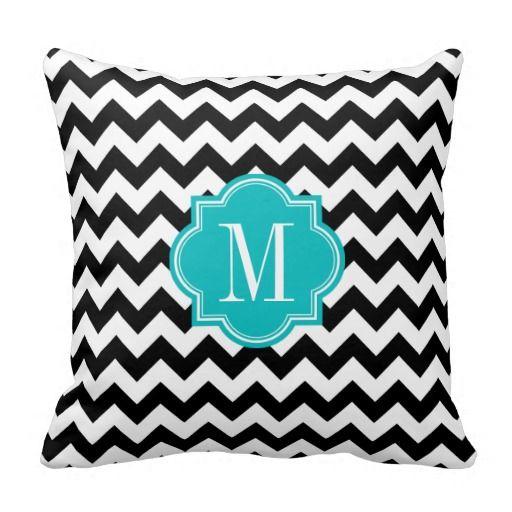 Black and White Chevron with Teal Monogram Throw Pillows #pillow #throwpillow #homedecor Home ...