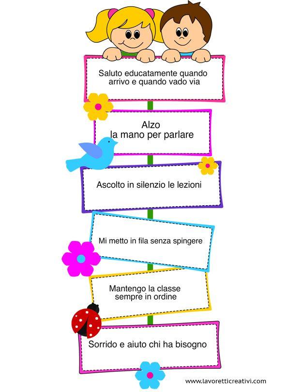 Cartellone le regole di classe regole pinterest for Idee per decorare un aula di scuola