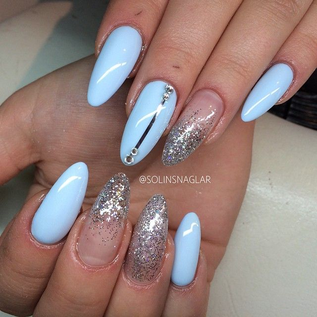 baby blue almond nails with glitter