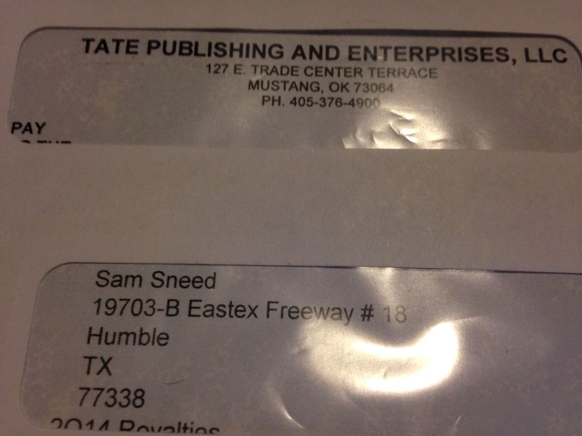 I LOVE getting these envelopes in the mail!!! Royalties payments u got to Love it Man!!! #SamSneed #HolyGhostEntertainment
