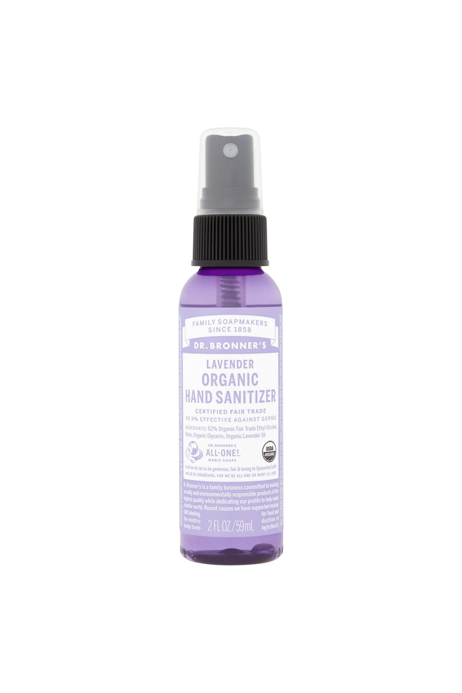 Dr Bronner S Organic Hand Sanitiser Lavender 59ml No Colour