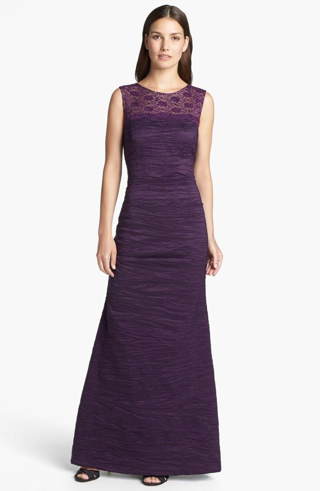 Alex Evenings Purple Crinkled Taffeta Gown Size 16 PETITE #10 NWT ...