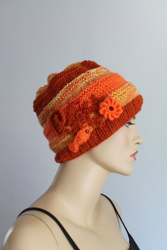 Coral Reef Orange Terracotta Multicolor Hand Knitted от lucylev