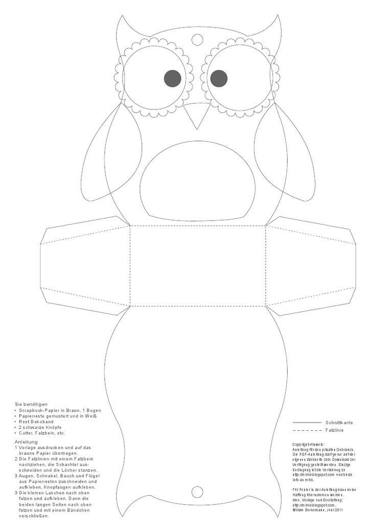 Pin by Снежана Витанова on Шаблони Owl templates, Owl box, Owl treats