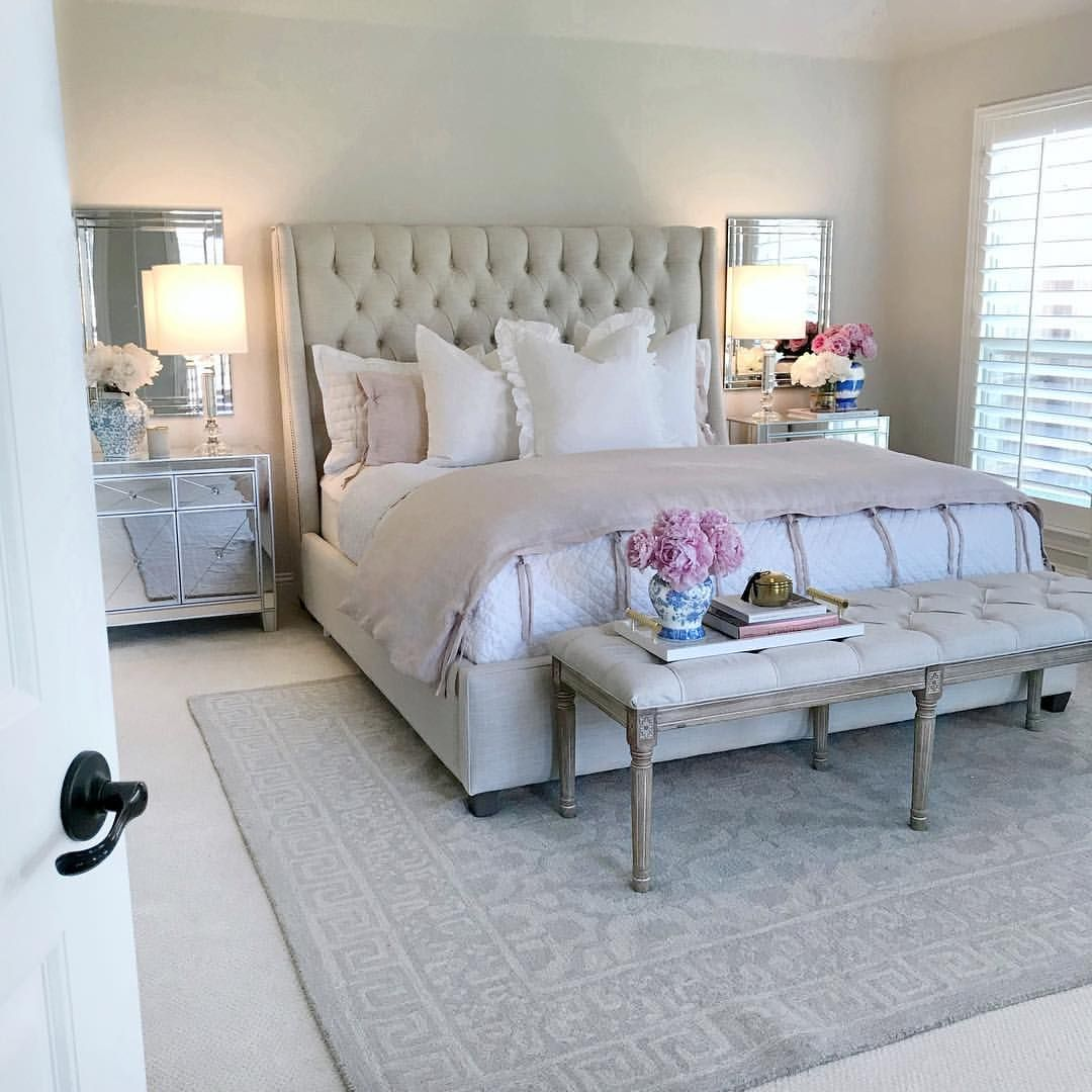 Bedroom Ideas Bedroom Inspiration Mirrored Furniture Tufted Headboard Classic Gray Benjamin Mo Mirrored Bedroom Furniture Bedroom Design Bedroom Furniture Sets