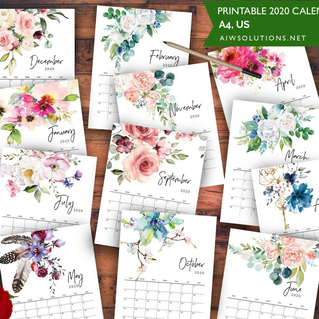 2020 Printable watercolor Calendar – id07