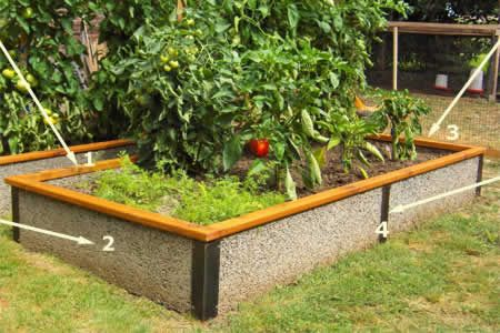 Raised beds made of woodchip and cement wall should last for Concrete raised garden bed designs