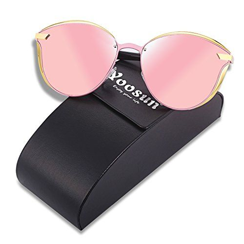 c76db92b24 YOOSUN Polarized Sunglasses Womens Cat eye Mirrored UV400 Sun Glasses P0400  BLACK PINK -- To view further for this item