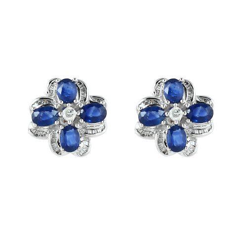 Blue Haze  18K White Gold Earrings  Gold: 3.90 gms Diamonds: 0.28 cts Sapphire:  1.98 cts
