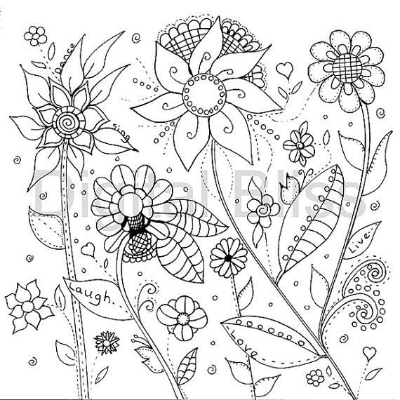 Adult Coloring Pages, Whimsical Wild Flowers Design, Adult Coloring ...