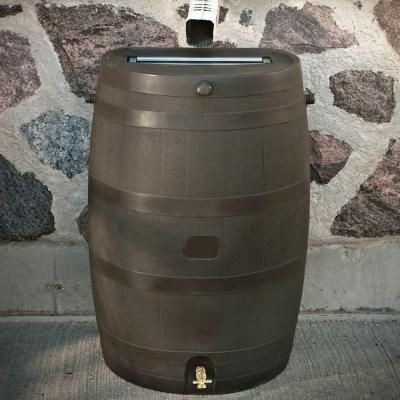 Rts Home Accents 50 Gal Rain Barrel With Brass Spigot 55100009005681 The Home Depot Links To Additional Barrels Rain Barrel Rain Water Collection Pub Set