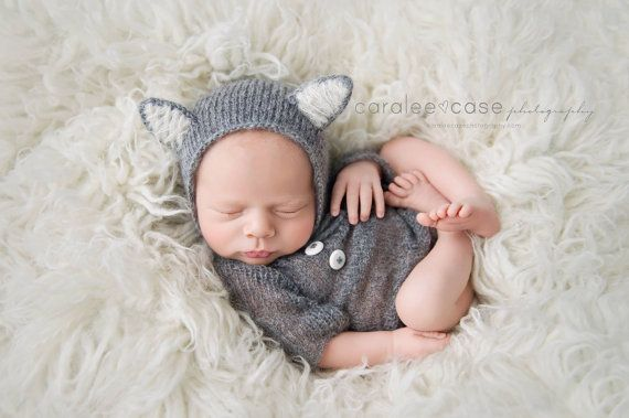 Newborn prop outfit Newborn knit wolf bonnet and body Long sleeves ...