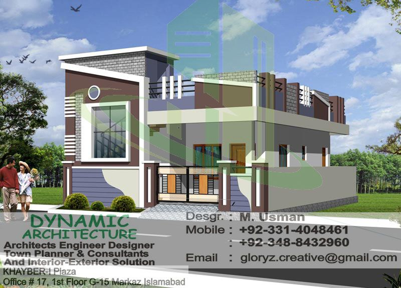 40x80 corner 3d view g 15 islamabad house map and drawings for Home zone designs