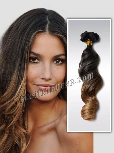 Body Wave Clip In Indian Remy Hair Extensions Sexy Three Tone Ombre