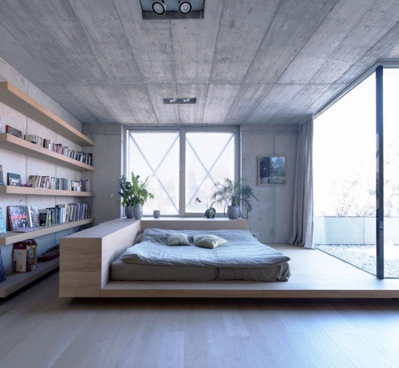 Puristisches Schlafzimmer - Bett mit Auflagefläche ห้องนอน - schlafzimmer bett modern