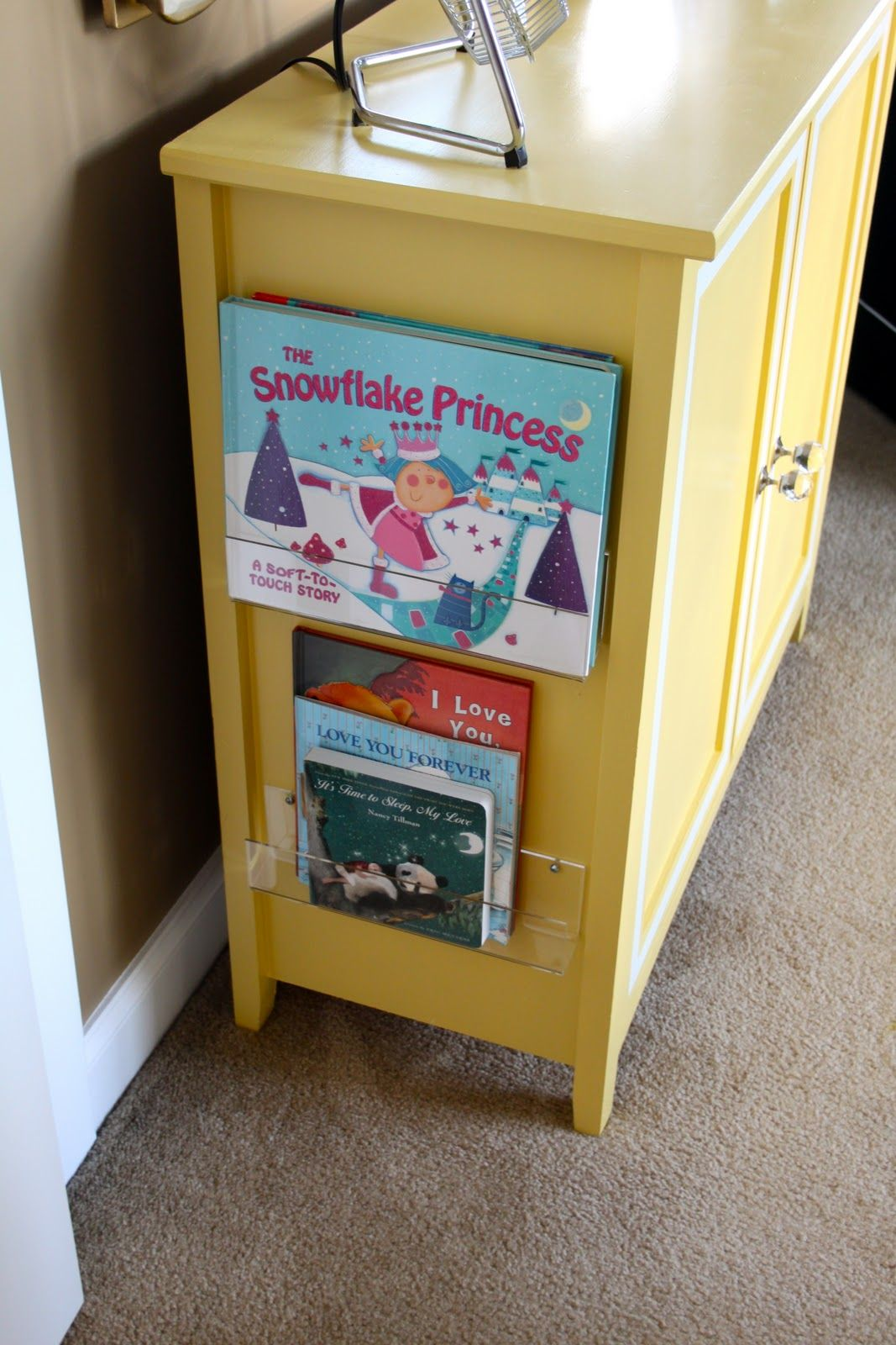 Use Acrylic Greeting Card Shelves On The Side Of A Cabinet For