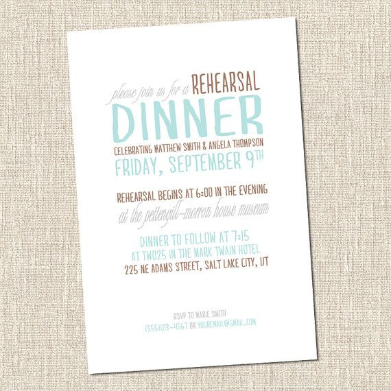 Printable Custom Wedding Rehearsal Dinner by copperandmint on Etsy, $14.99