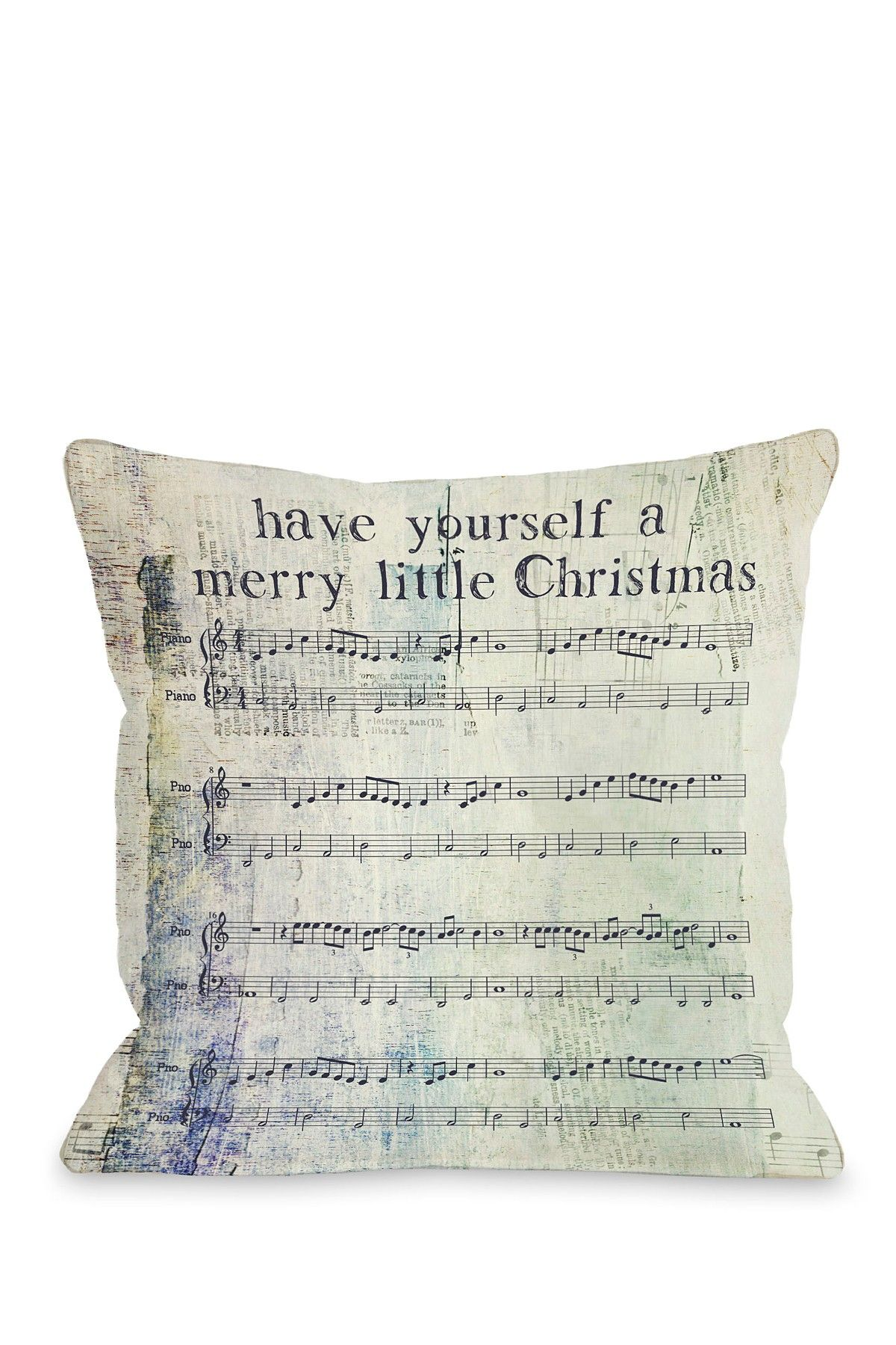 Merry Little Christmas Sheet Music Pillow with Zipper