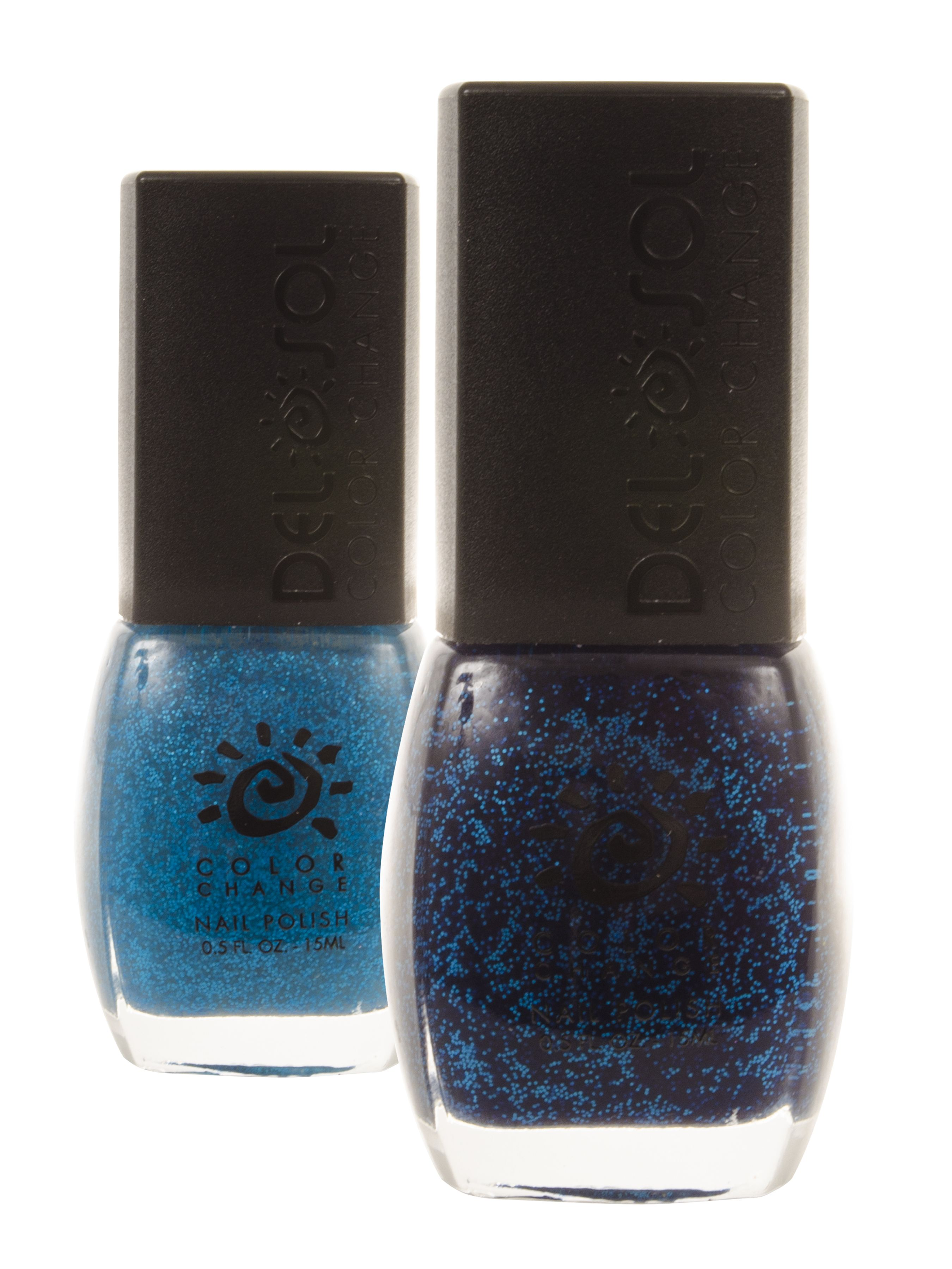 This Del Sol color-changing neon nail polish, Just Blue In, changes from turquoise glitter to midnight blue glitter with sunlight. Take a spin at twilight.