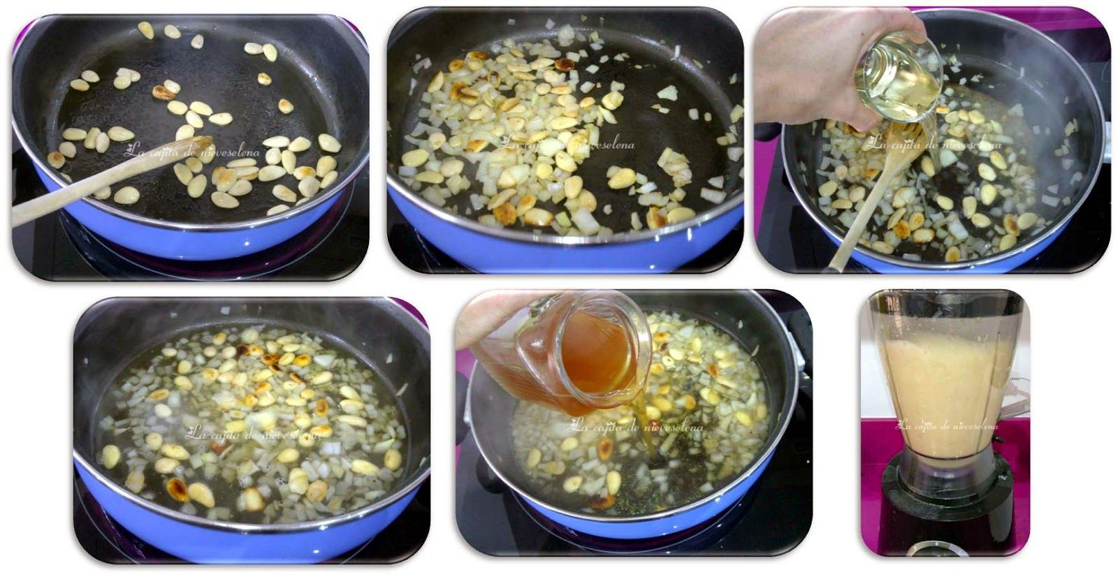 salsa de almendras: rehogamos la cebolla y las almendras, añadimos el vino, y dejamos 2´agregamos el caldo de carne y dejamos cocer 5´batimos y reservamos.