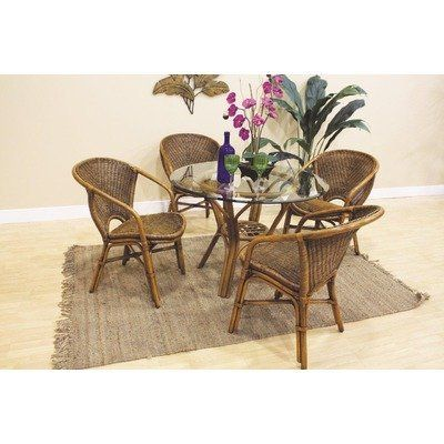 Greece 5 Piece Indoor Rattan Dining Set By Hospitality Rattan 780 30 5 Pc Rattan Wicker Dining Set Th Wicker Dining Set Glass Top Dining Table Dining Set