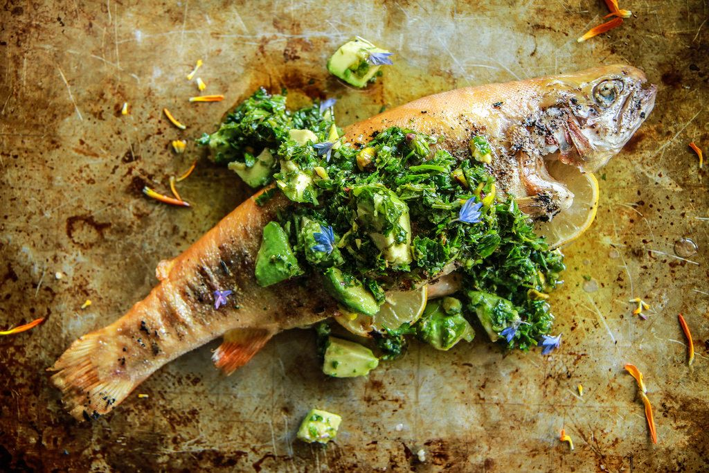 Grilled+Trout+with+Avocado+Chimichurri+Sauce