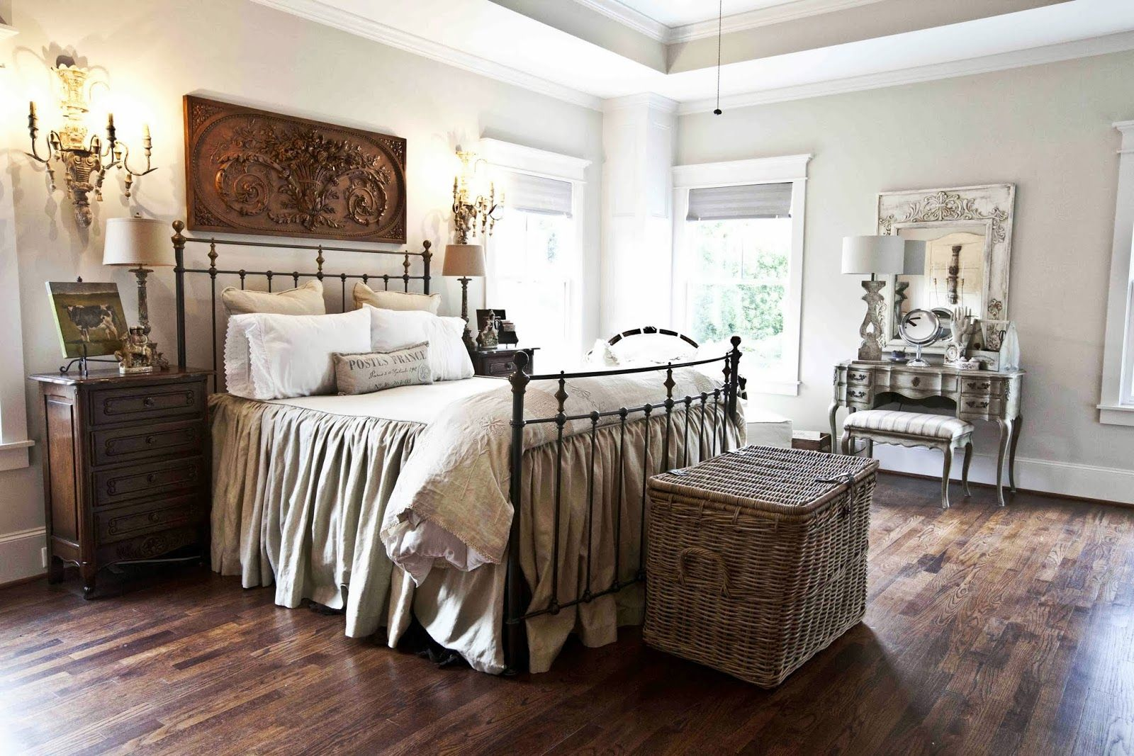 Beautiful tone on tone vintage inspired bedroom, part of the Cedar Hill Farmhouse tour. Stunning!