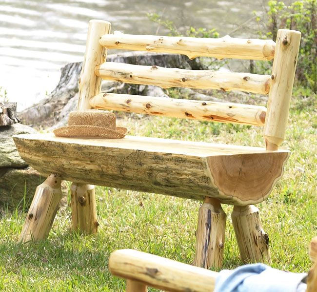 Log Bench With Back Meuble En Bois Rustique Palettes En Bois Recyclees Banc Bois Brut