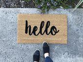 Script hello Doormat  Custom Welcome Mat  Housewarming Doormat  Spring Doormat  Rustic Doormat  Script hello Doormat  Custom Welcome Mat  Housewarming Doormat  Spring Doo...