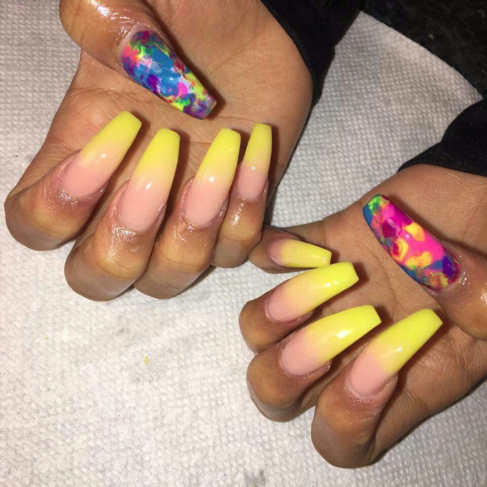 Yellow Ombre nails   beauty/ hair/ accessories   Pinterest ...
